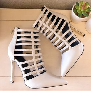 ALDO beige/cream strappy pointed toe heels